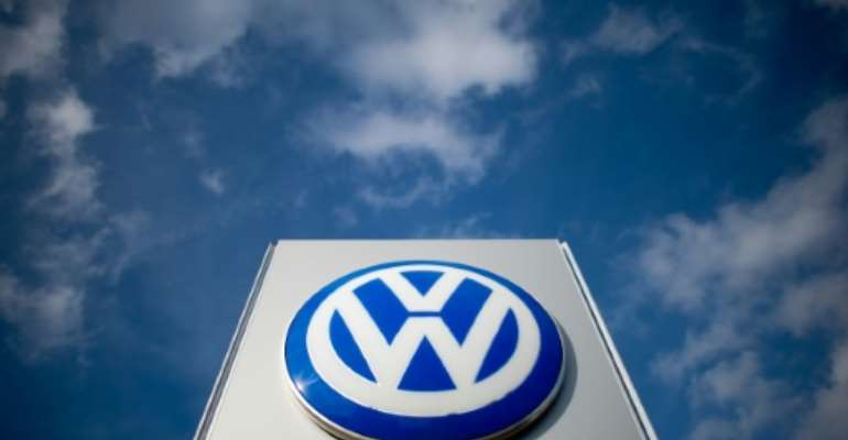 The Sovac-Volkswagen factory opened in 2017 at Relizane, some 250 kilometres (150 miles) southwest of Algiers; pictured is a file photo from February 20, 2014 showing Volkswagen's logo at a car dealer in Hanover.  By Julian Stratenschulte (dpa/AFP/File)