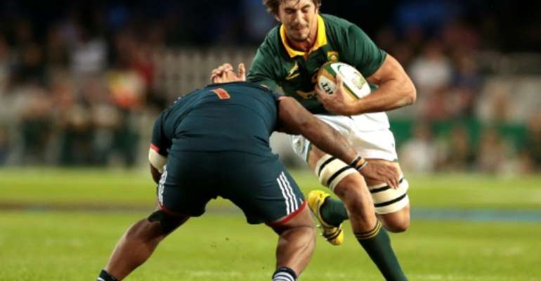 The Springboks have opened an internal probe into Eben Etzebeth over allegations of assaulting and racially abusing a homeless man just before the World Cup.  By GIANLUIGI GUERCIA (AFP/File)
