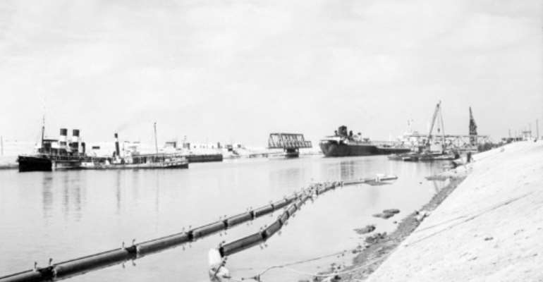 The Suez Canal in 1955, during a phase of major expansion and a year before it was nationalised by Egypt.  By  (AFP/File)