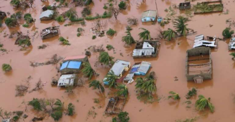 The superstorm turned a swathe of central Mozambique into an inland sea.  By ADRIEN BARBIER (AFP)