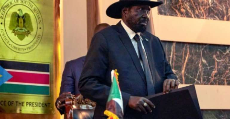 The UN has extended an arms embargo on South Sudan even though President Salva Kiir, seen here, and Riek Machar, the rebel leader who is now first vice president, have made a deal to form a unity government.  By ALEX MCBRIDE (AFP)