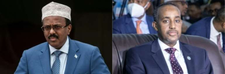 The UN Security Council has called for restraint in Somalia's leadership feud, which pits President Mohamed Abdullahi Mohamed (L) against Prime Minister Mohamed Hussein Roble (R).  By Yasuyoshi CHIBA, Abdirahman Yusuf (AFP/File)