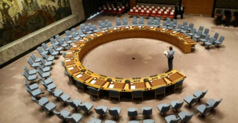 The UN Security Council room seen in 2017.  By Stephane LEMOUTON (POOL/AFP/File)