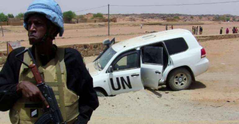 The United Nations mission to Mali MINUSMA has been targeted constantly by jihadists, with dozens of peacekeepers killed.  By SOULEYMANE  AG ANARA (AFP/File)