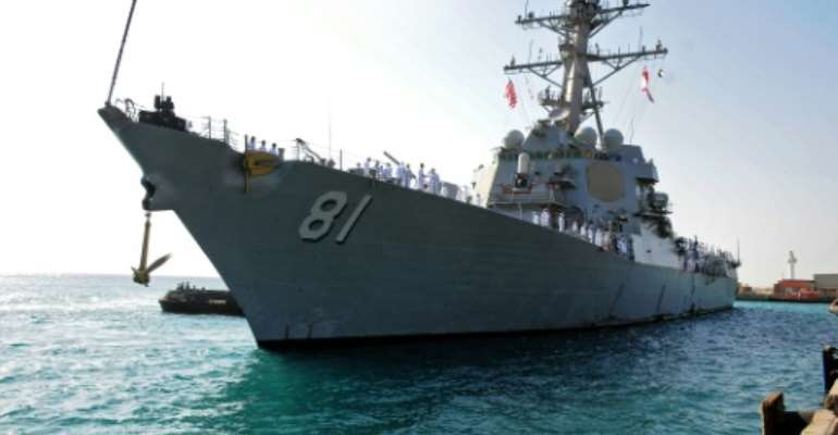 The USS Winston S. Churchill docked in Port Sudan on Monday.  By - (AFP)