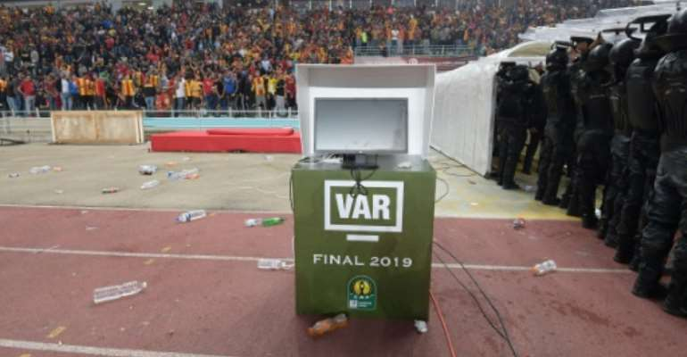 The VAR monitor that did not work at the CAF Champions League final in Tunisia two months ago, leading to the match being abandoned.  By FETHI BELAID (AFP)