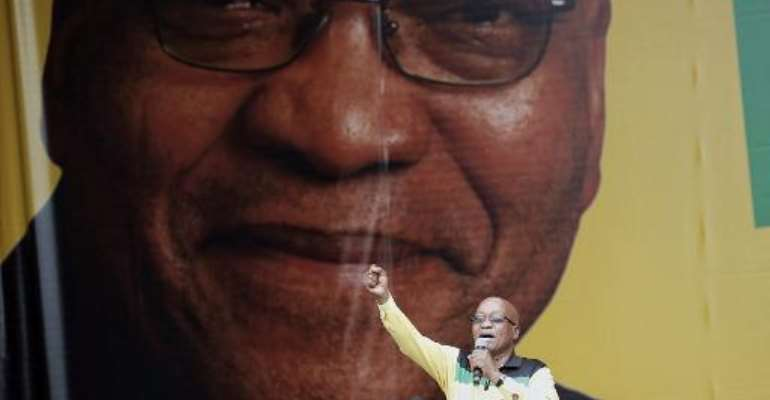 South African President Jacob Zuma delivers a speech in Nelspruit during the launch of the ruling ANC party's election manifesto on January 11, 2014.  By Marco Longari (AFP/File)