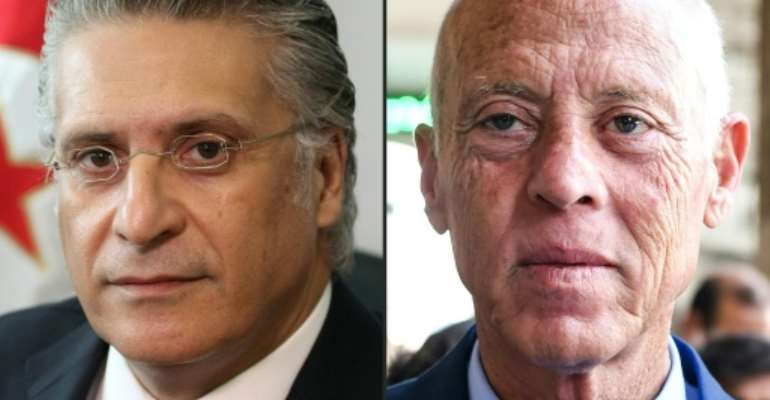 This combination of file pictures shows (L to R) Nabil Karoui, Tunisian media magnate and presidential candidate for Qalb Tounes (Heart of Tunisia) party, currently jailed on corruption charges, and independent candidate and lawyer Kais Saied.  By Hasna, FETHI BELAID (AFP/File)