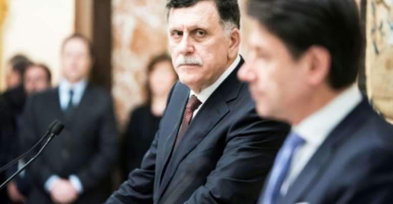 This handed out on January 11, 2020 by the Palazzo Chigi Press Office shows President of Libya's UN-recognised Government of National Accord (GNA), Fayez al-Sarraj, who said he