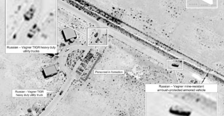This July 14, 2020 satellite image released by the US Africa Command reportedly shows proof of Russia's involvement in Libya by showing Wagner utility trucks and Russian mine-resistant, ambush-protected armored vehicles in Sirte.  By - (US Africa Command/AFP)