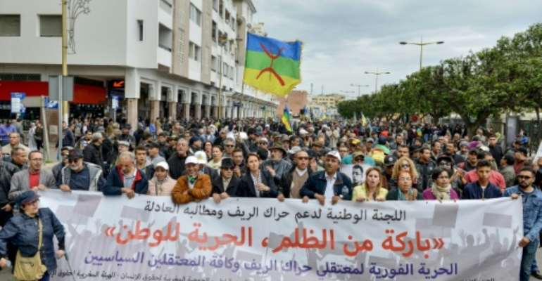 Thousands marched in the Moroccan capital Rabat on Sunday.  By - (AFP)