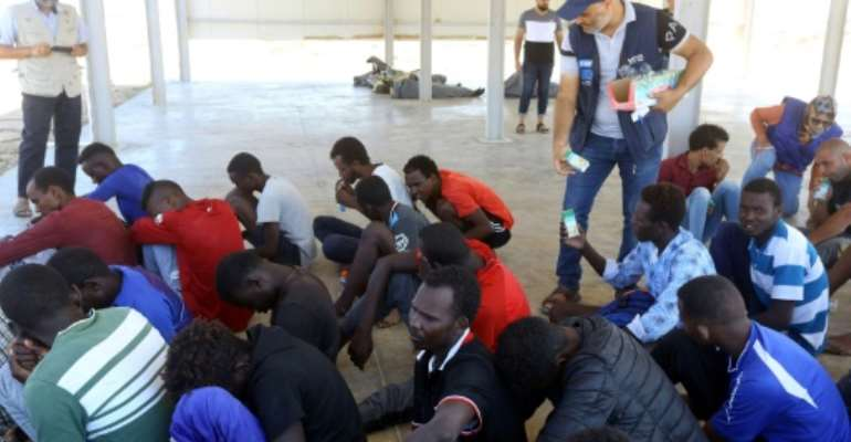 Thousands of migrants are stranded in Libya.  By Mahmud TURKIA (AFP)