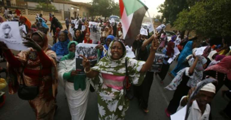 Thursday's march by Sudanese women was the latest in a string of moves by protestors to pressure the ruling generals to hand power to civilians.  By ASHRAF SHAZLY (AFP)