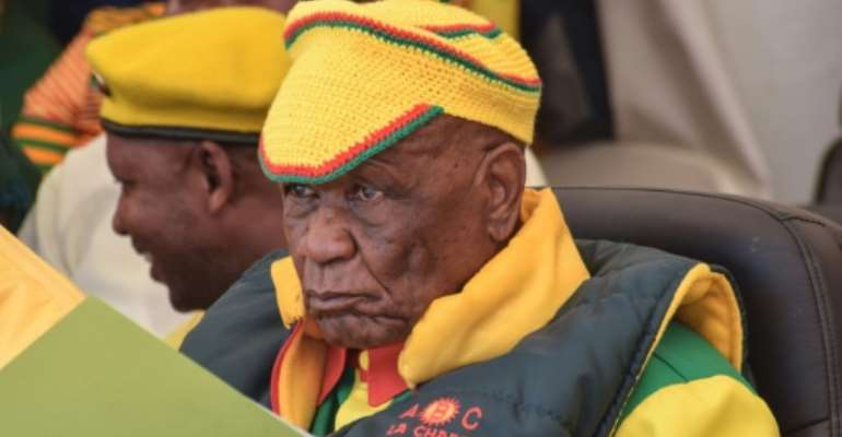 Tom Thabane, shown at a rally in March, married his current wife two months after his first wife died in 2017.  By MOLISE MOLISE (AFP/File)