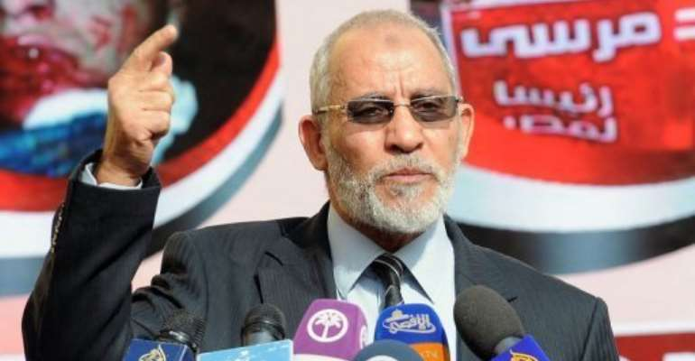 Mohammed Badie speaks during a press conference at the party's headquarters in Cairo on August 8, 2012.  By Mahmoud Khaled (AFP/File)