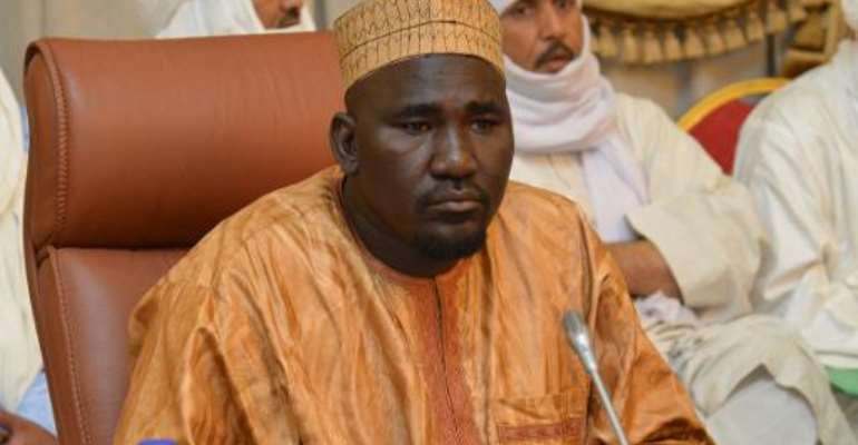 Vice-President of the  National Movement for the Liberation of Azawad (MNLA) Mahamadou Djeri Maiga at a meeting on the Malian crisis in Ouagadougou on June 7, 2013.  By Ahmed Ouoba (AFP/File)