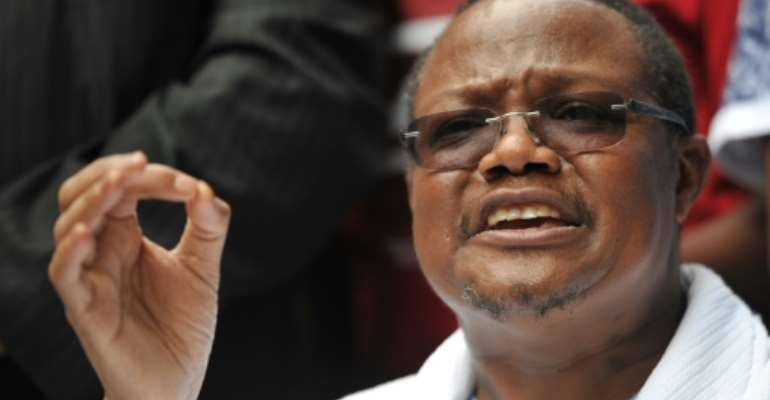 Tundu Lissu was shot and critically injured at his home in September 2017.  By TONY KARUMBA (AFP/File)