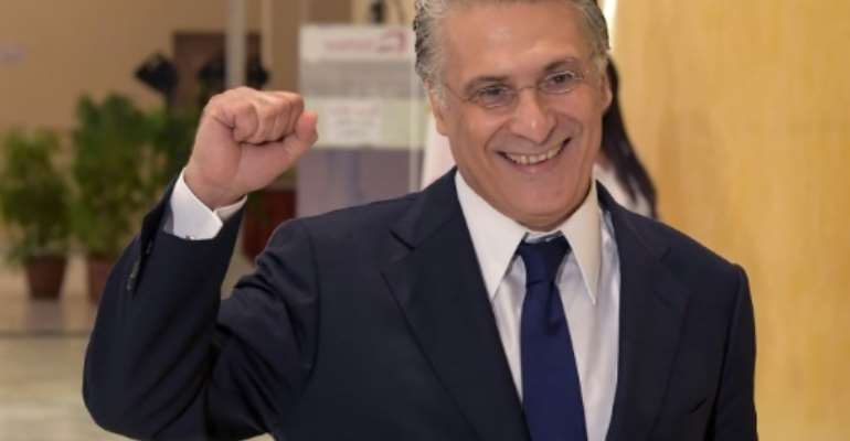 Tunisian liberal party leader Nabil Karoui seen in this 2019 picture was arrested in Algeria.  By FETHI BELAID (AFP/File)