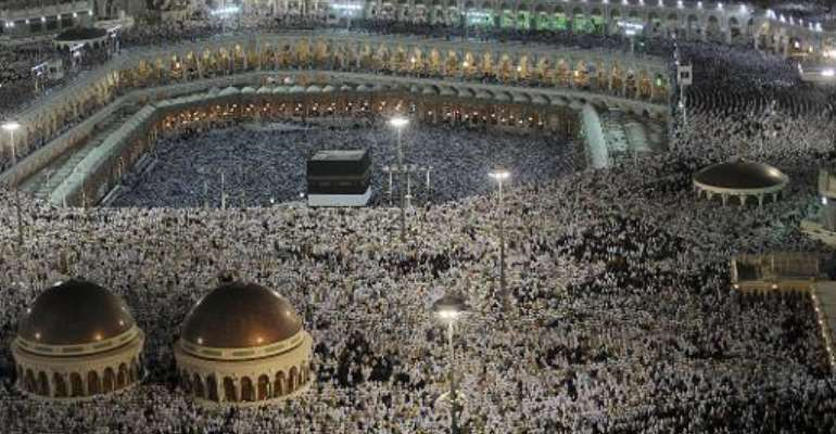 Muslim pilgrims perform their evening prayers, in Grand Mosque in the holy city of Mecca, on October 22, 2012.  By Fayez Nureldine (AFP/File)