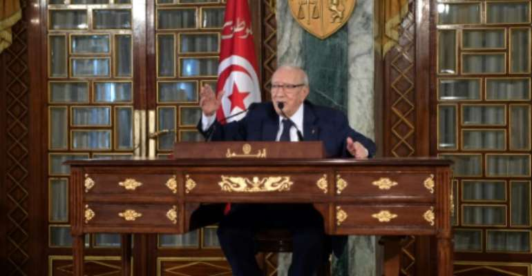 Tunisian President Beji Caid Essebsi gives a press conference on November 8, 2018 at the presidential palace in northern Tunis.  By FETHI BELAID (AFP)