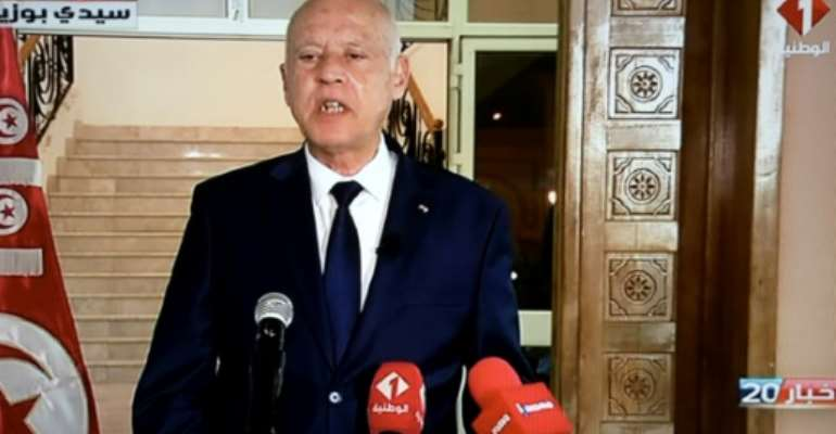 Tunisian President Kais Saied, seen in this September 20, 2021 picture, presents himself as the ultimate interpreter of the constitution who has announced moves that fundamentally alter the North African country's post-revolutionary political regime.  By FETHI BELAID (AFP/File)