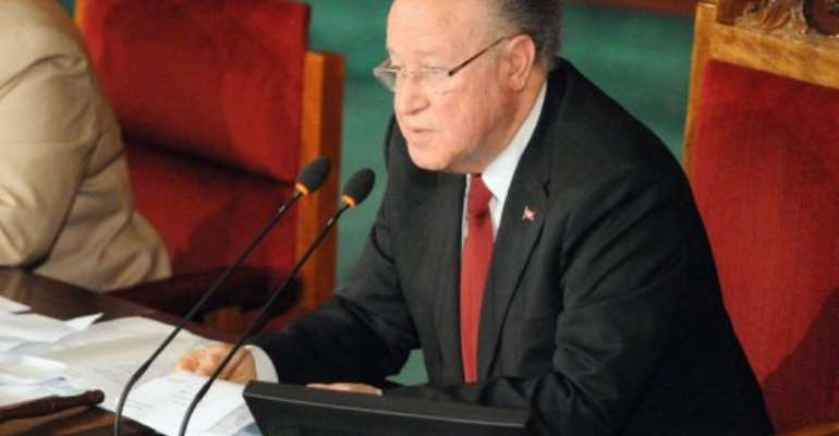 President of the National Constituent Assembly Mustapha Ben Jaafar gives a speech.  By Fethi Belaid (AFP)