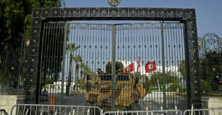 Tunisia's army barricaded the parliament building in the capital Tunis on July 26.  By Yassine MAHJOUB (AFP)