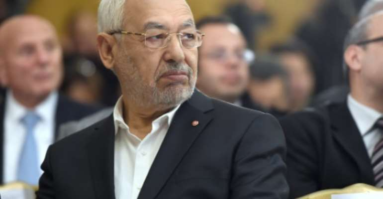 Tunisia's Ennahdha Islamist Party Leader Rached Ghannouchi looks on during a handover ceremony attended by the country's newly elected government in Tunis on February 6, 2015.  By Fethi Belaid (AFP/File)