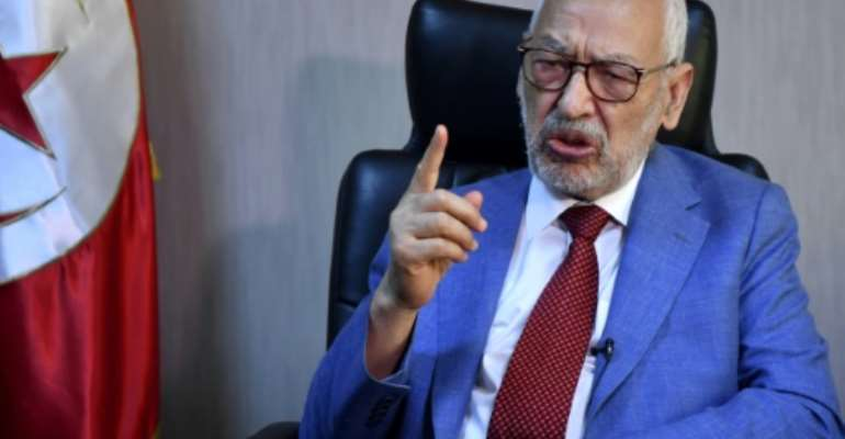 Tunisia's parliament speaker and Ennahdha party leader Rached Ghannouchi, gives an interview with AFP at his office in the capital Tunis on July 29, 2021.  By FETHI BELAID (AFP)