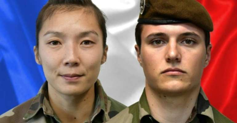 Two French soldiers, Sergeant Yvonne Huynh (L) and Brigadier Loic Risser, were killed by an improvised explosive device in northeastern Mali in January 2021.  By - (AFP)