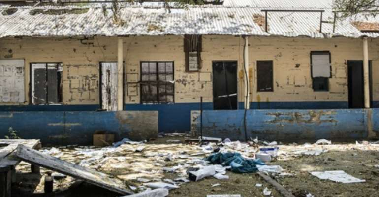 A vandalized surgical ward in the compound of a Doctors without Borders run hospital in the town of Leer, in the northeastern Unity State of South Sudan.  By Ho (AFP/File)
