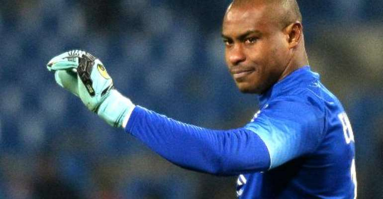 Lille's Nigerian goalkeeper Vincent Enyeama gestures during a match in Montpellier, on February 7, 2015.  By Boris Horvat (AFP/File)