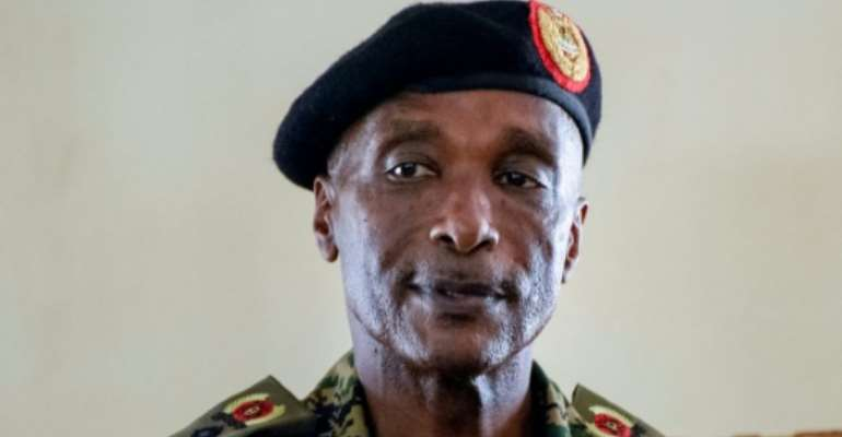 Uganda's former police chief Kale Kayihura, pictured at a military court, was sacked by President Yoweri Museveni arrested in 2018.  By Isaac Kasamani (AFP)