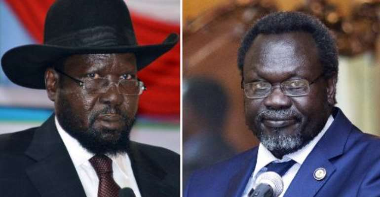 Photo combination made on February 1, 2014, shows South Sudan President Salva Kiir (L) in Juba and leader of South Sudan's largest rebel group and former vice-president Riek Machar in Addis Ababa.  By Samir Bol, Zacharias Abubeker (AFP/File)