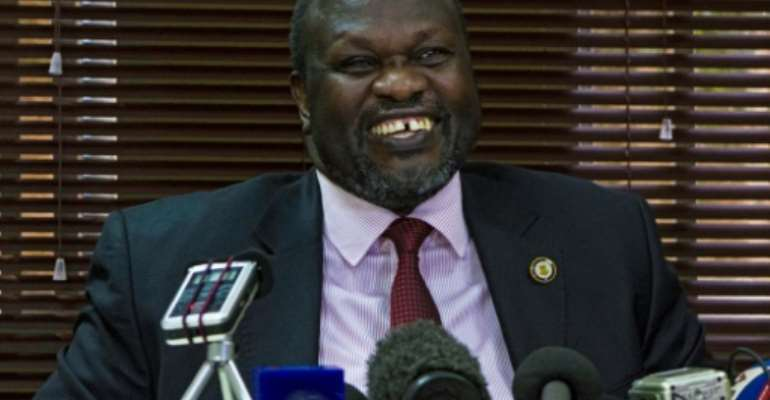 South Sudan's rebel leader Riek Machar, pictured on January 26, 2016, failed to return to the capital.  By Isaac Kasamani (AFP/File)