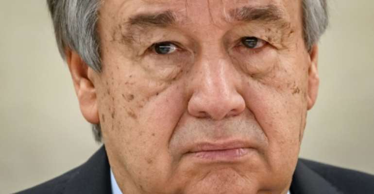 UN Secretary-General Antonio Guterres issued a stark warning about the coronavirus threat to the world.  By Fabrice COFFRINI (AFP/File)