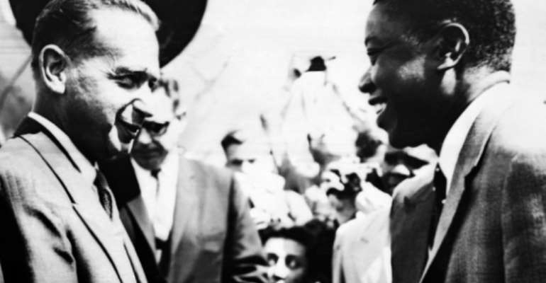 UN Secretary-General Dag Hammarskjold, welcomed by Moïse Kapenda Tshombe, leader of the Katanga province of Belgian Congo, now the Democratic Republic of the Congo, in 1960.  By  (AFP)