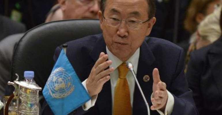 UN Secretary General Ban Ki-Moon speaks at the 5th ASEAN – U.N. Summit  in Bandar Seri Begawan on October 10, 2013.  By Philippe Lopez (AFP/File)