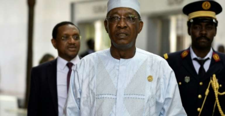 Under pressure: Chadian President Idriss Deby Itno.  By MICHAEL TEWELDE (AFP)