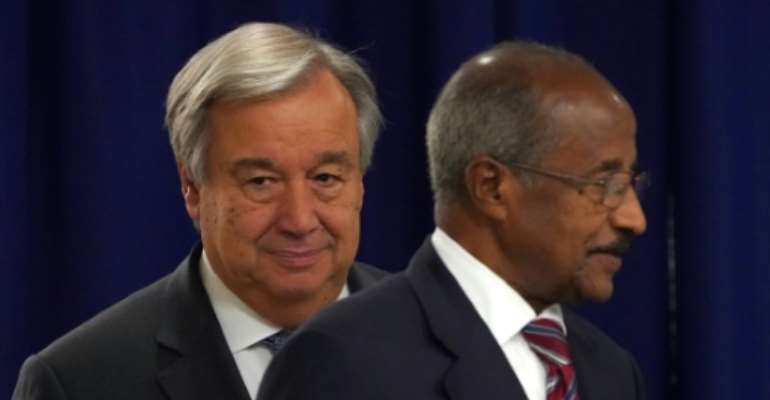 United Nations Secretary General Antonio Guterres (L) meets with Eritrea's Minister for Foreign Affairs Osman Saleh Mohammed at the United Nations in New York on September 27, 2018. Eritrea's foreign minister on Saturday called for sanctions against his country to be lifted as a result of the peace deal with Ethiopia.  By Don EMMERT (AFP)