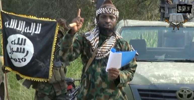 Boko Haram leader, Abubakar Shekau delivering a speech.  By - (Boko Haram/AFP/File)
