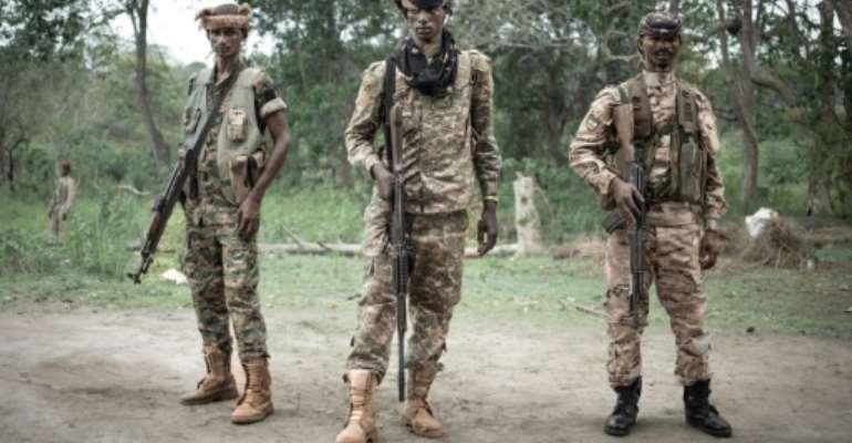 UPC militiamen, pictured near Bambari in 2019.  By FLORENT VERGNES (AFP)