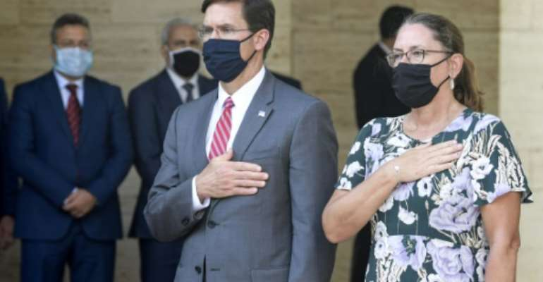 US Defence Secretary Mark Esper and his wife Leah are on a three-nation North Africa tour.  By FETHI BELAID (AFP)