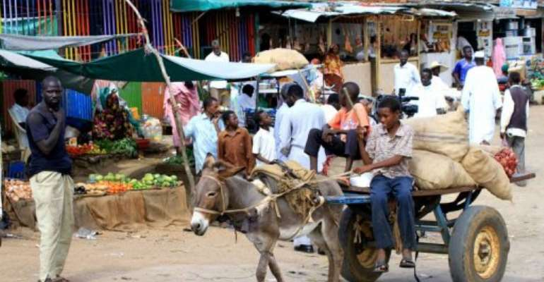 Sudanese boys rides a donkey cart loaded with onion sacs in South Kordofan.  By Ashraf Shazly (AFP/File)
