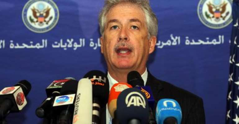 US Deputy Secretary of State William Burns gives a press conference in Tripoli during his visit to Libya on April 24, 2014.  By Mahmud Turkia (AFP)