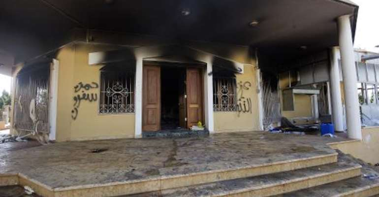 A picture shows a burnt building at the US consulate compound in the eastern Libyan city of Benghazi on September 13, 2012.  By Gianluigi Guercia (AFP/File)