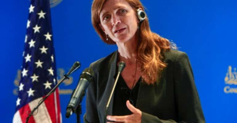 USAID administrator Samantha Power speaks at a press conference in Khartoum on August 1, 2021.  By Ebrahim HAMID (AFP)