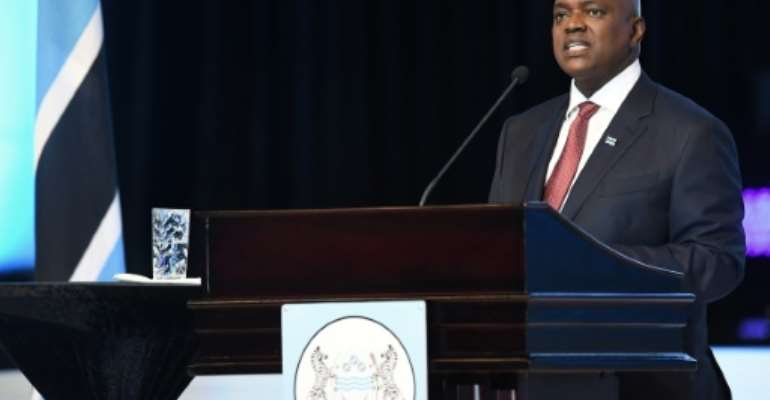 Victor: President Mokgweetsi Masisi delivers a speech after being sworn in on November 1.  By Monirul Bhuiyan (AFP)