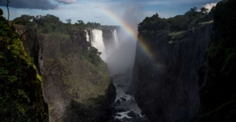 Victoria Falls on the Zambia-Zimbabwe border is one of the world's most spectacular waterfalls.  By GULSHAN KHAN (AFP/File)