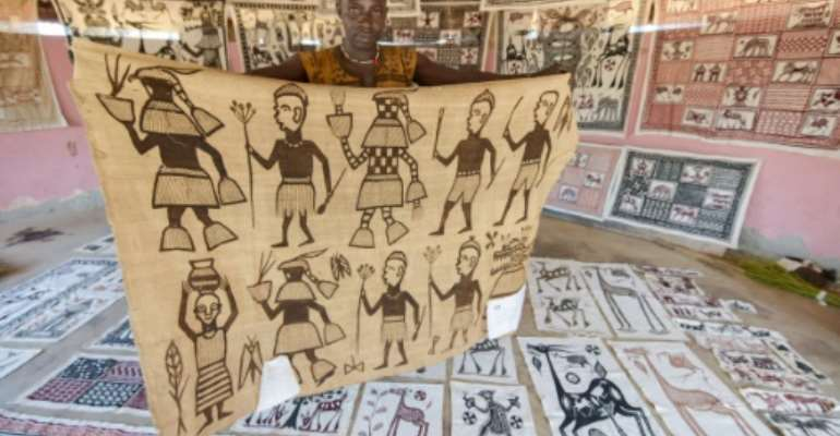 Villagers in Fakaha in northern Ivory Coast say Picasso once visited the spot, leaving his mark on one of the locally produced cotton canvases.  By SIA KAMBOU (AFP)